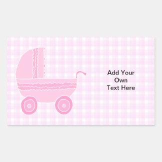 ベビーカー。 ピンクのギンガムで淡いピンク 長方形シール