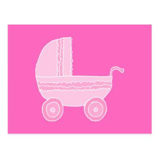 ベビーカー。 淡いピンクおよび明るいピンク ポストカード