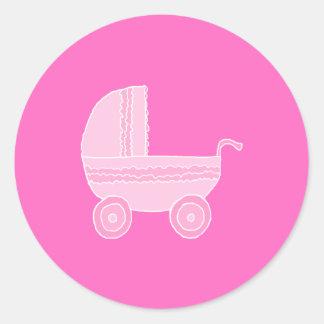 ベビーカー。 淡いピンクおよび明るいピンク ラウンドシール