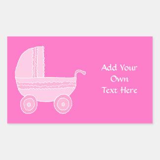 ベビーカー。 淡いピンクおよび明るいピンク 長方形シール