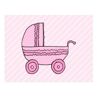 ベビーカー。 淡いピンクの縞のピンク ポストカード