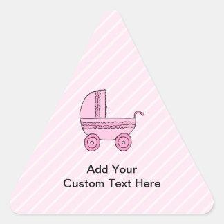 ベビーカー。 淡いピンクの縞のピンク 三角形シール