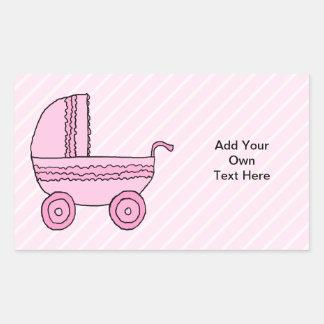 ベビーカー。 淡いピンクの縞のピンク 長方形シール