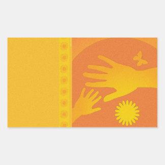 ベビーシッターは黄橙色を渡します 長方形シール
