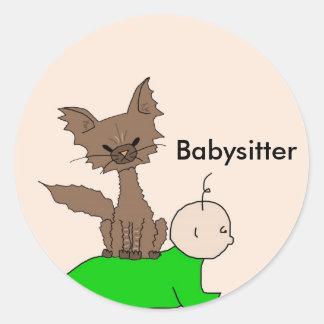 ベビーシッター-猫をふりかけて下さい(鳴きます会って下さい) ラウンドシール