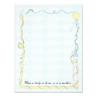 ベビーシャワーのサンキューカードの、黄色または青の城 カード