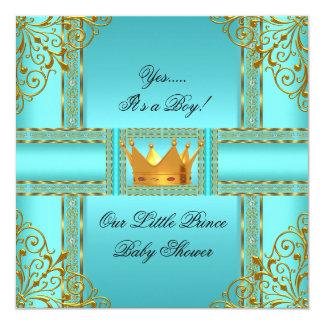 ベビーシャワーのティール(緑がかった色)のCrown青い金ゴールドの男の子の王子 カード