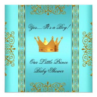 ベビーシャワーのティール(緑がかった色)のCrown青い金ゴールドの男の子の王子 13.3 スクエアインビテーションカード