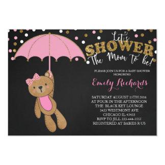 ベビーシャワーのテディー・ベアの招待状のピンクの女の赤ちゃん 12.7 X 17.8 インビテーションカード