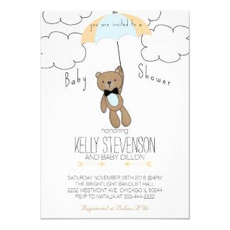 ベビーシャワーのテディー・ベアの招待状の男の赤ちゃんの青 12.7 X 17.8 インビテーションカード