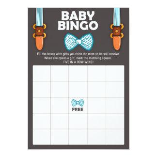 ベビーシャワーのビンゴのちょうネクタイの男の赤ちゃんの小さい人 カード