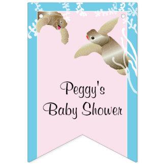 ベビーシャワーのピンクか赤ん坊のカメ、アゲハチョウの旗 バンティングフラッグ