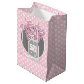 ベビーシャワーのメーソンジャー(ピンク) ミディアムペーパーバッグ