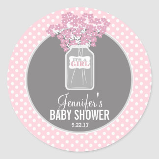 ベビーシャワーのメーソンジャー(ピンク) 丸型シール