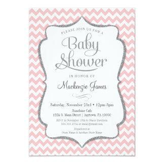 ベビーシャワーの招待状のシェブロンのピンクの銀製の女の子 カード