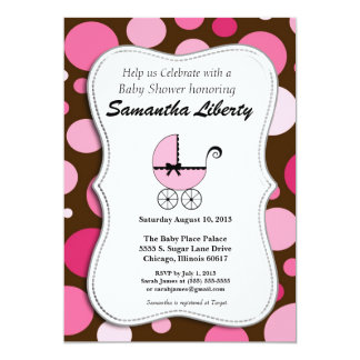 ベビーシャワーの招待状のピンクおよびブラウン カード