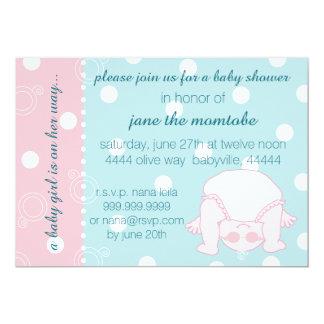 ベビーシャワーの招待状の女の赤ちゃんのピンクの青 カード