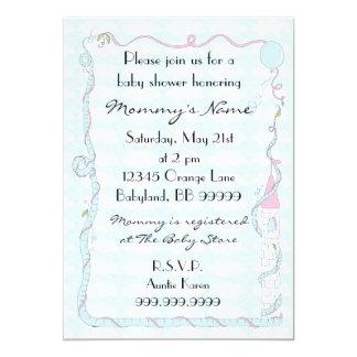 ベビーシャワーの招待状。 ピンクか青または城 カード