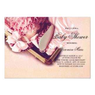 ベビーシャワーの招待、ヒョウのベビー靴 12.7 X 17.8 インビテーションカード