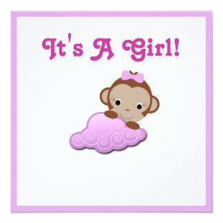 ベビーシャワーの招待(女の子) 13.3 スクエアインビテーションカード