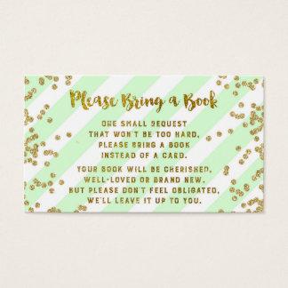ベビーシャワーの本の要求カードミントの金ゴールドの紙吹雪 名刺