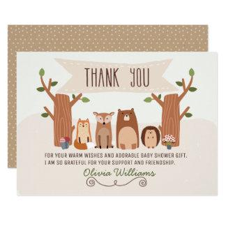 ベビーシャワーの森林動物のサンキューカード カード