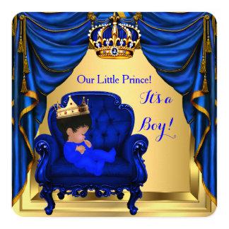ベビーシャワーの男の子の小さい王子ロイヤルブルーの金ゴールド 13.3 スクエアインビテーションカード