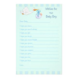 ベビーシャワーの記念品-男の赤ちゃんのための願い 便箋