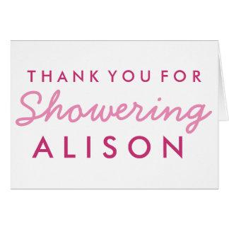 ベビーシャワーはノート-ピンクおよび白感謝していしています カード