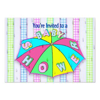 ベビーシャワー招待状-傘かギンガムは縞で飾ります カード