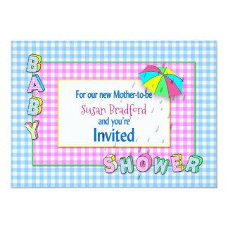 ベビーシャワー招待状-雨が付いている傘 カード
