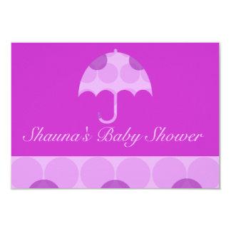 """""""ベビーシャワー""""の-紫色の点々のあるな傘[a] カード"""