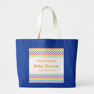ベビーシャワー。 虹色と縞で飾ります ラージトートバッグ