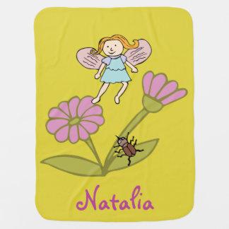 ベビーブランケットの「花の妖精および蝶 ベビー ブランケット