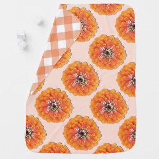 ベビーブランケット-オレンジ《植物》百日草 ベビー ブランケット