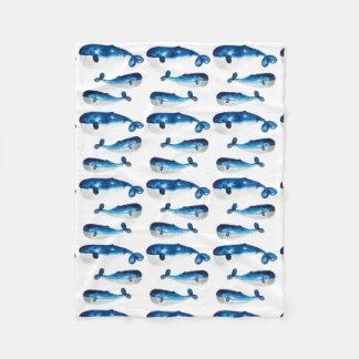 ベビーブランケット-水色のシロナガスクジラ フリースブランケット
