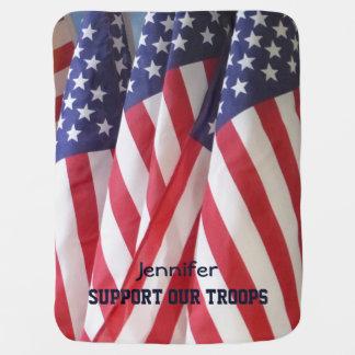 ベビーブランケット、米国旗、軍隊を支援 ベビー ブランケット