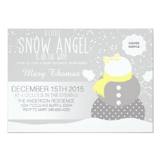 ベビー冷たい外の雪の天使のベビーシャワー 12.7 X 17.8 インビテーションカード
