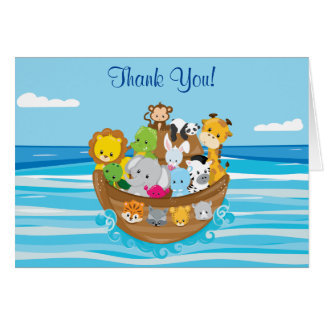 ベビー動物との名前入りなノアの箱舟のテーマ カード