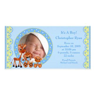 ベビー動物の写真の男の子の誕生の発表 カード