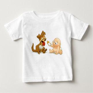 ベビー及び子犬のワイシャツ ベビーTシャツ