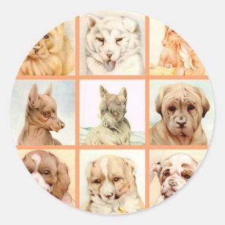 ベビー犬のコラージュ-すごいかわいい! ラウンドシール