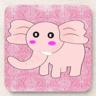 ベビー象のピンクのダマスク織 コースター