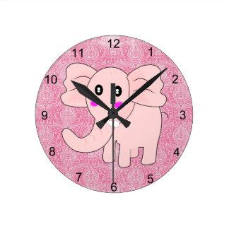 ベビー象のピンクのダマスク織 ラウンド壁時計