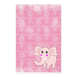 ベビー象のピンクのダマスク織 便箋
