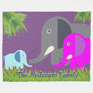 ベビー象|の父の母かわいい家族のモノグラム フリースブランケット