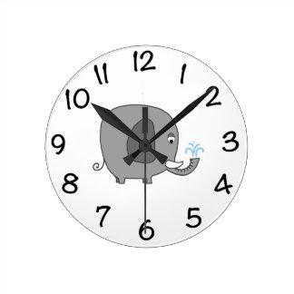 ベビー象 ラウンド壁時計