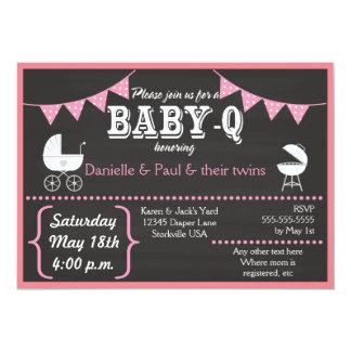 ベビーQの黒板のベビーシャワー招待状(Pink2) カード