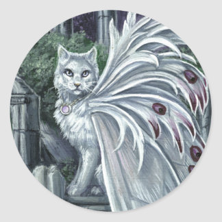 ベラドンナ白い妖精猫のステッカー ラウンドシール