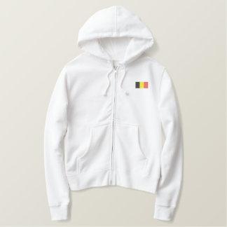ベルギーのフード付きスウェットシャツ-ベルギーの旗 刺繍入りパーカ